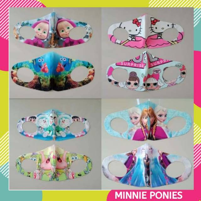 Masker Scuba Anak Masker Karakter Lucu Masker Scuba Printing Lol Elsa Frozen Kuda Poni Little Pony Shopee Indonesia