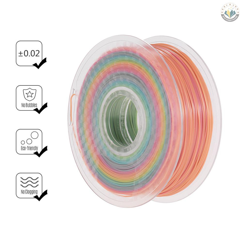 Color Changing PLA 3D Printing Filament 1.75mm 1kg//2.2lb Rainbow Multicolor Draw