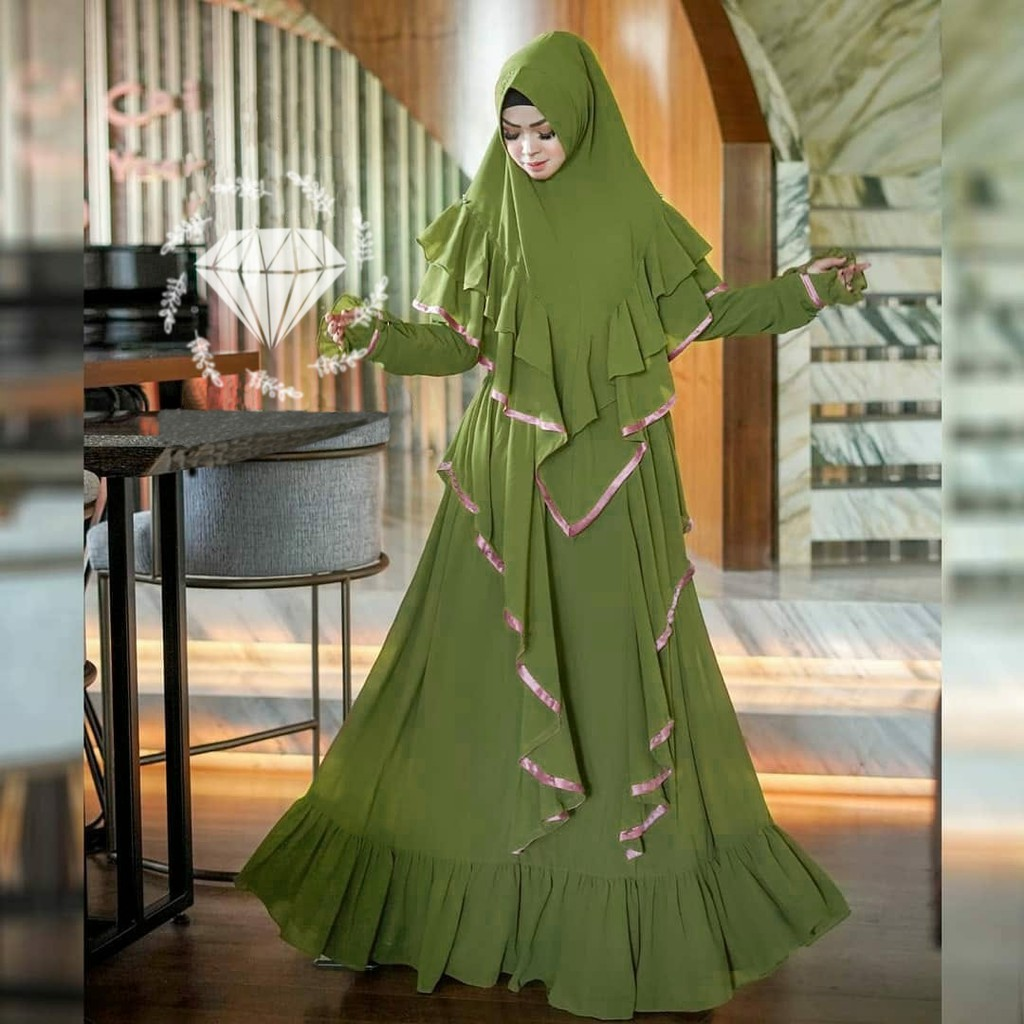 Baju Gamis Syar`i Wanita Muslimah Moscrepe Areta Premium / Fashion Muslim  Perempuan Syari New