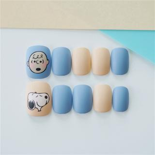 24 Kotak Stiker Kuku Palsu Motif Snoopy Warna Biru Muda Dapat Dilepas 4