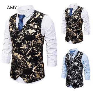 LH Spring and autumn Waistcoat Suit vest men double-breasted printed vest Slim fashion black,M