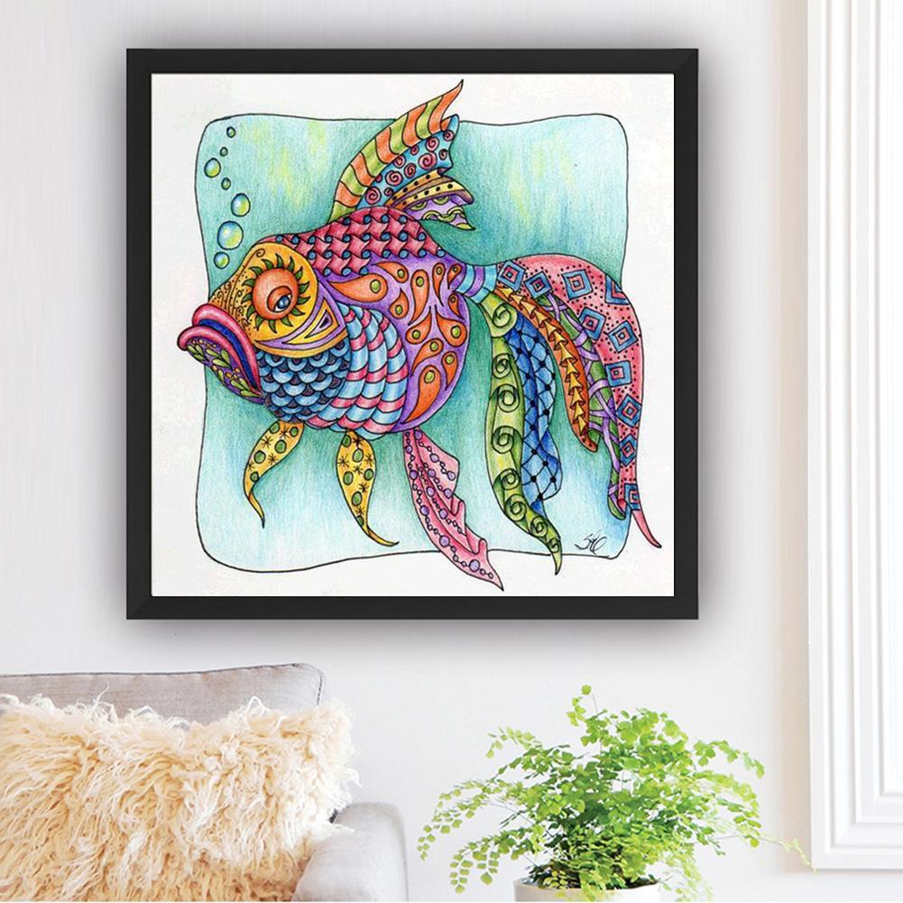 DIY Lukisan Diamond 5D Dengan Gambar Ikan Dan Hiasan Berlian Buatan