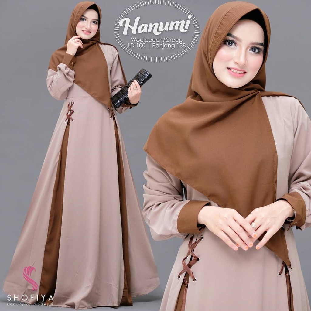 Baju Gamis Wanita Terbaru Hanumi Dress Syari Muslim Wanita Kekinian Shopee Indonesia