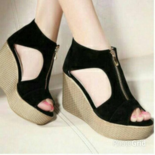 Sepatu Wanita Murah Wedges Selop Bunga Coklat Nfz07 - Info Harga ... 50ea79d90c
