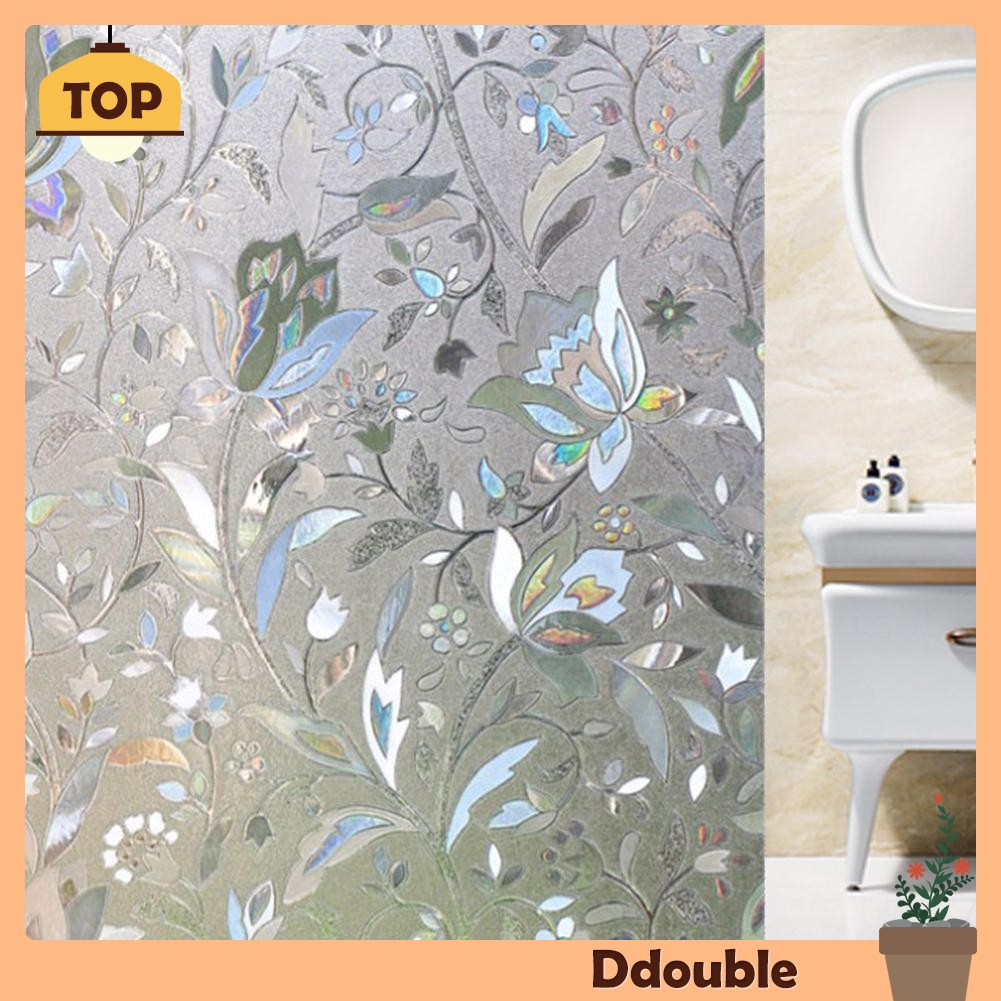 Stiker Kaca Mosaik 3D Transparan Statis Motif Tulip Tahan Air Minyak Panas Untuk Dekorasi Ruang