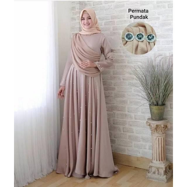 Party Dress Gaun Dress Selendang Mutiara Maxi Dress Murah Ori
