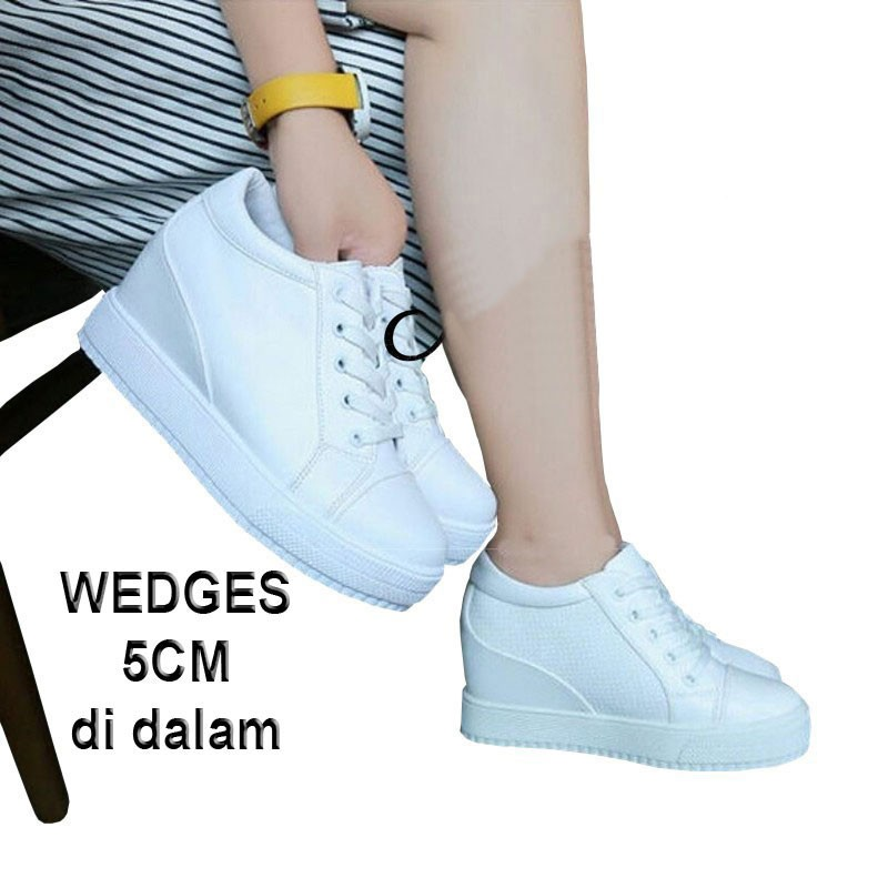 sepatu perempuan remaja dewasa anak / Morymony Sneakers wedges di dalam 5cm putih polos   Shopee Indonesia