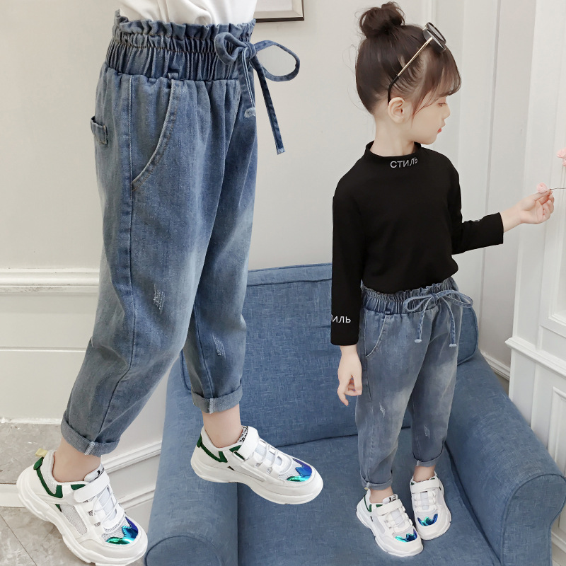 Celana Panjang Jeans Denim Casual Pinggang Karet Untuk Anak Perempuan 3 12 Tahun Shopee Indonesia