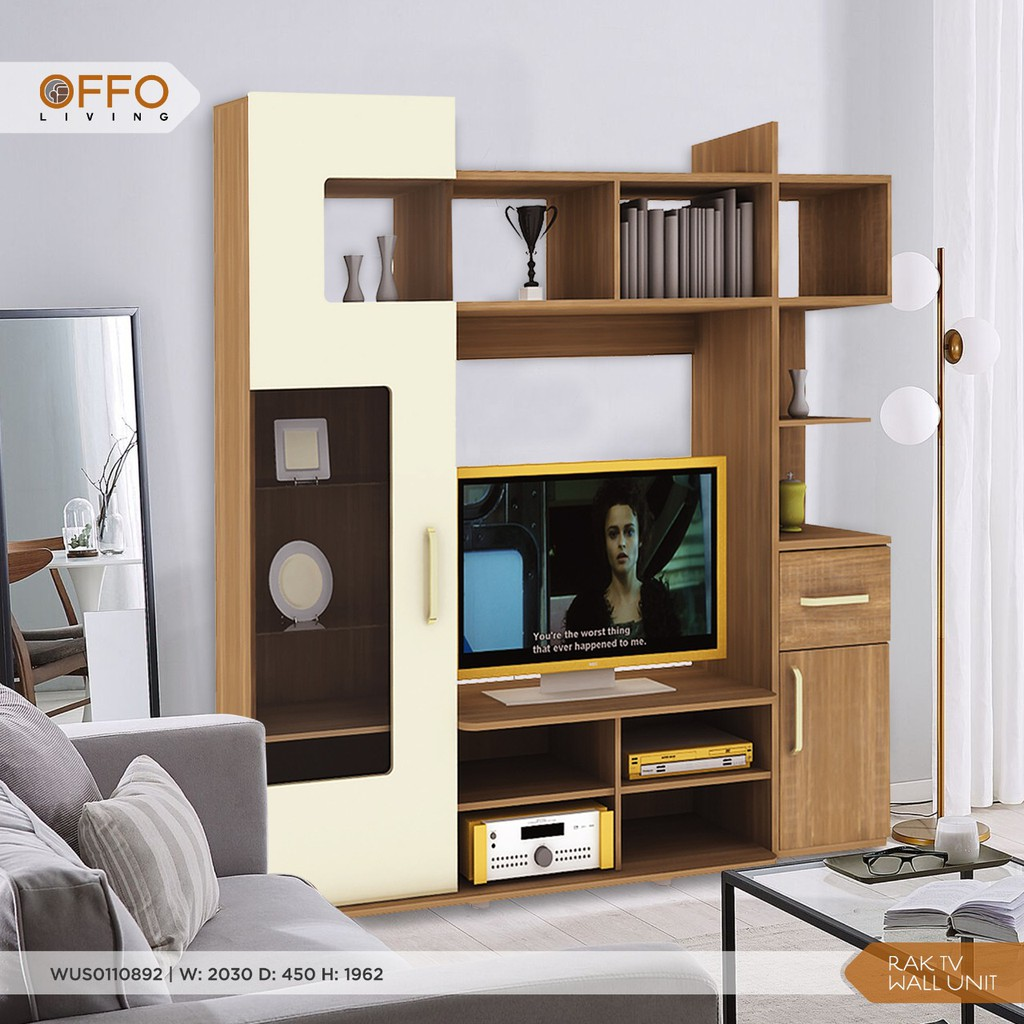 Offo Living Rak Tv Wall Unit High Chicago Series Wus0110892 Shopee Indonesia