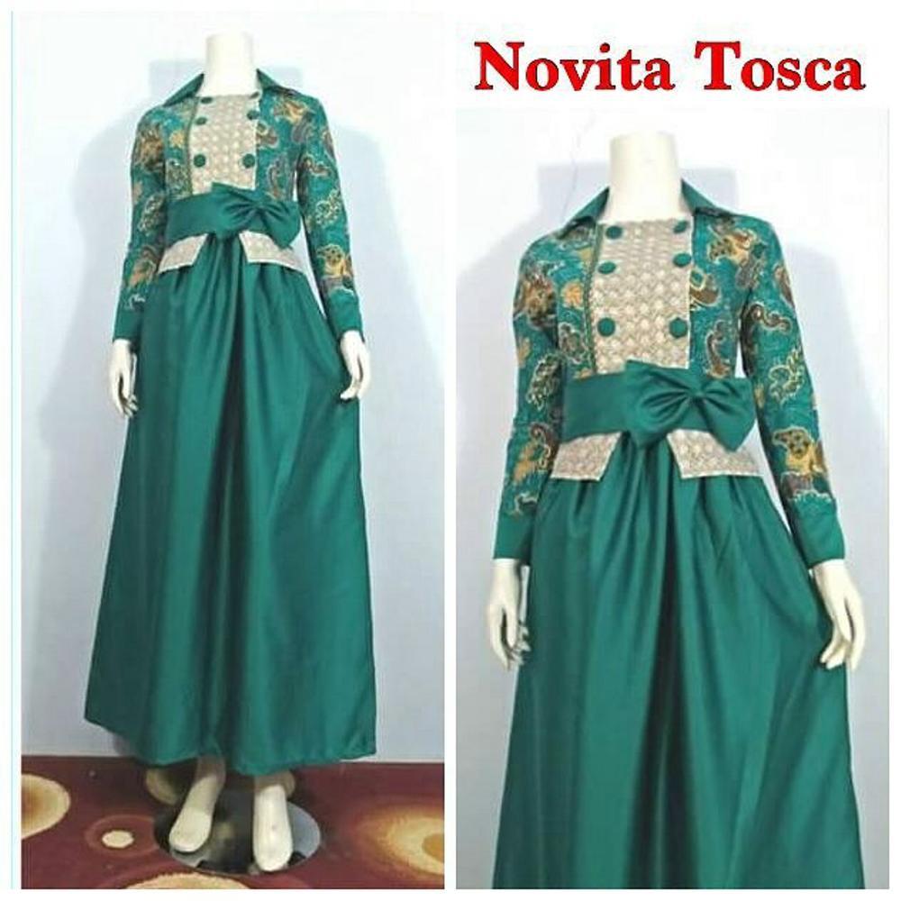 ISTIMEWA Gamis Batik Kombinasi Velvet Terbaru Novita Tosca Cocok Untuk  Pesta Seragam Formal Maupun