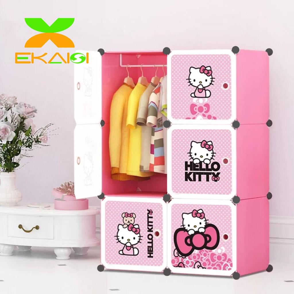 Lemari Portable Plastik Lemari Pakaian Anak Rak Baju Serbaguna 6 Pintu Kartun Shopee Indonesia Harga lemari anak anak