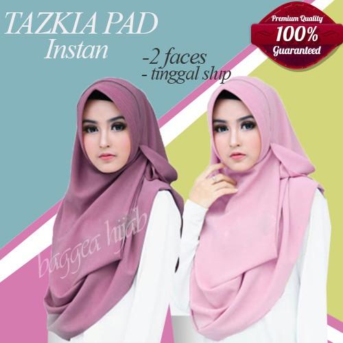 Hijab Jilbab Pashmina Instan Pastan Untuk Wisuda Pesta Tazkia Pad Langsung Pakai Style Modern Modis Shopee Indonesia