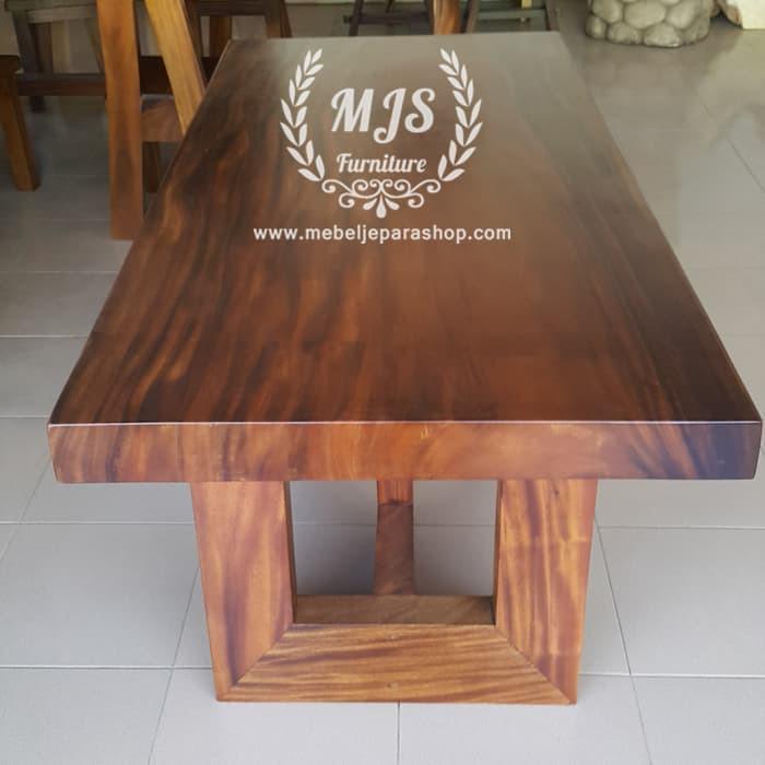 Meja Kayu Trembesi Meja Makan Kayu Solid Utuh Suar Tepi Rata Shopee Indonesia