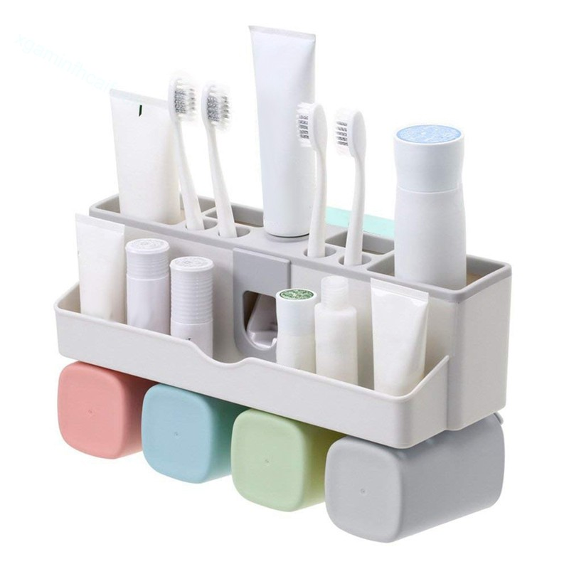 Toothbrush Holder Set, Wall Mount Toothpaste Dispenser Small | Shopee Indonesia