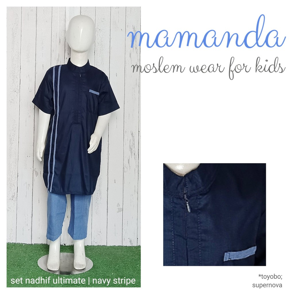 Koko Anak Navy Stripe Set Nadhif Ultimate Series by Mamanda