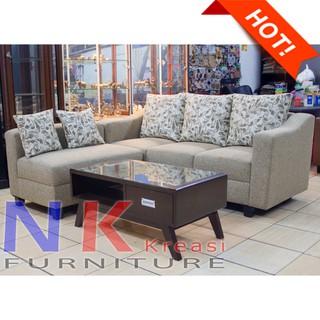 Sofa Kursi Ruang Tamu L Sudut Elegan Minimalis Mewah Meja Cantik