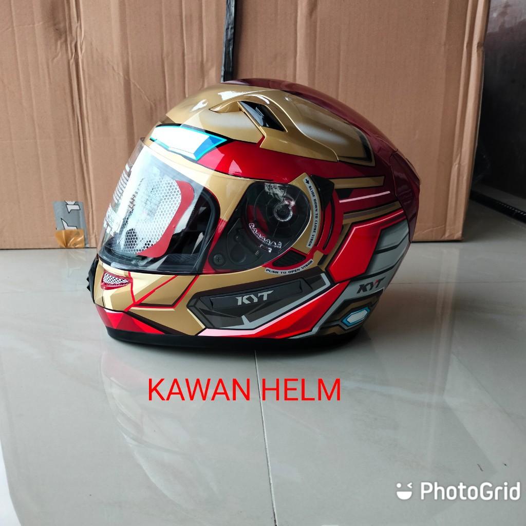 HELM KYT K2 RIDER IRON MAN RED MAROON GOLD MURAH ONGKIR 2KG