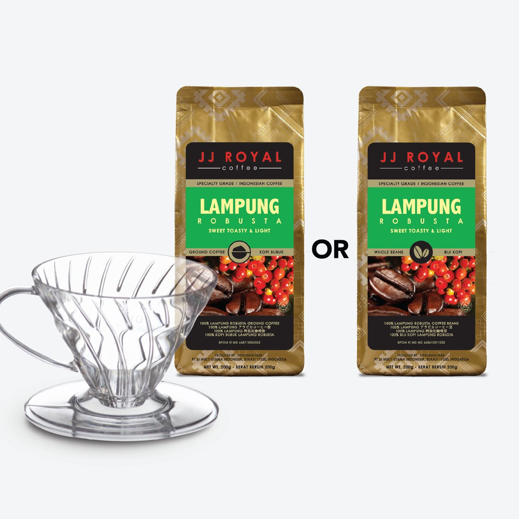 JJ Royal Coffee Lampung Robusta Ground (Kopi Bubuk) Bag 200g | Shopee Indonesia