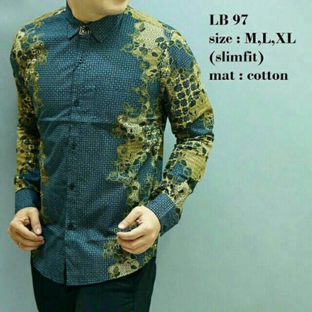 lb 137 baju batik kemeja pria slim fit lengan panjang bagus keren mewah  berkualitas elegan  edd1fb08c5
