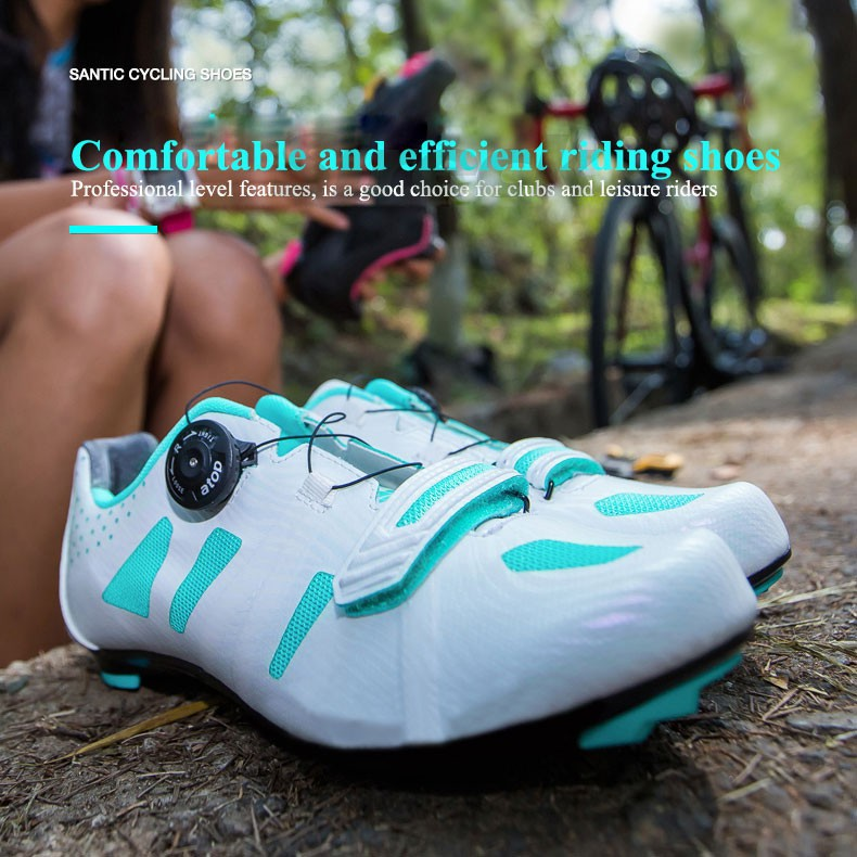 Santic Women Road Bike Cycling Shoes Auto-locking Lace-up Athletic Shoes