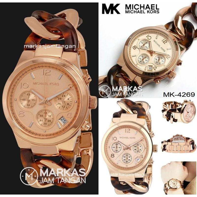 Jam Tangan Wanita Michael Kors MK 4269 4222 3199 Runway Tortoise Twist Chain Link Watch ORIGINAL