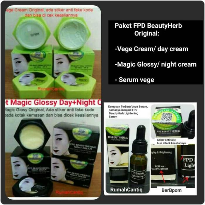 Paket FPD Beautyherb Vege Herbal day cream + Serum + Magic Glossy Night | Shopee Indonesia