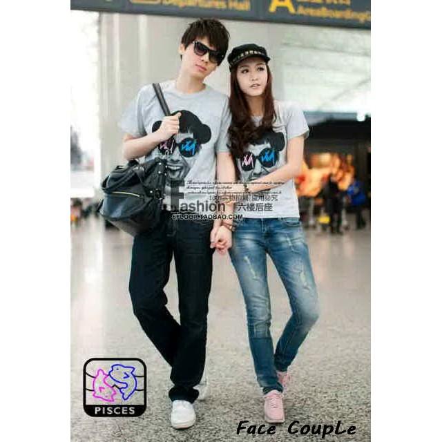Kaos couple keluarga terbaru Tshirt pasangan family simple Super biru | Shopee Indonesia