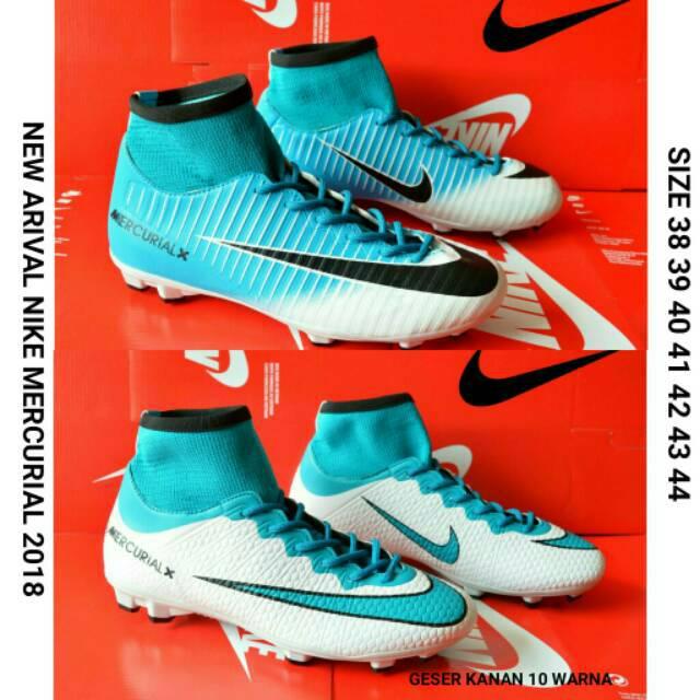 Sepatu Bola Anak Nike Mercurial Vapor Boot Hitam Strip Biru List Orange Size  34 35 36 84bc01d9ea