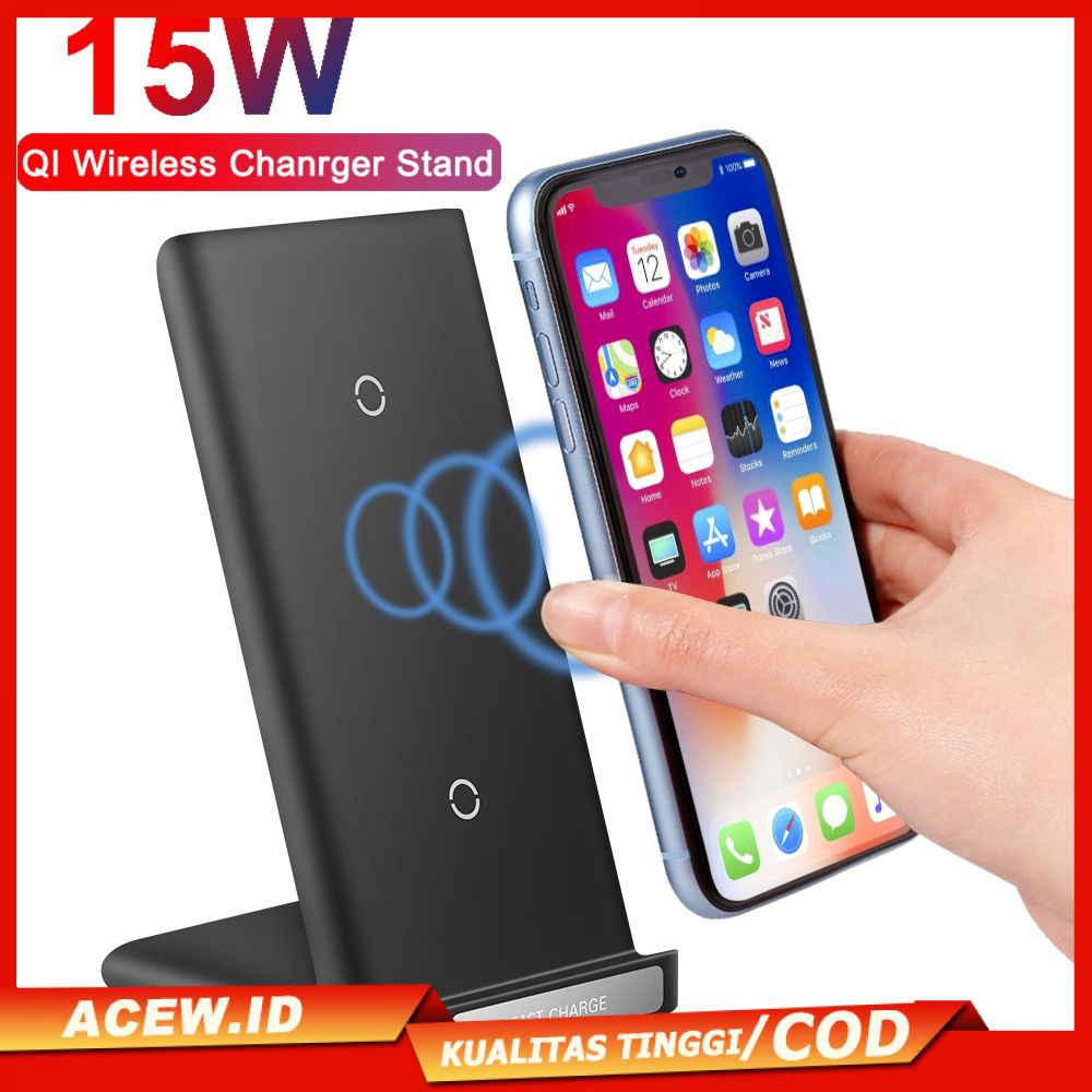 A Shop 15w Qi Wireless Charger Stand For Iphone 11 Pro X Xs Samsung S20 S10 S9 Fast Wireless Charging Station Phone Charger Cod Shopee Indonesia