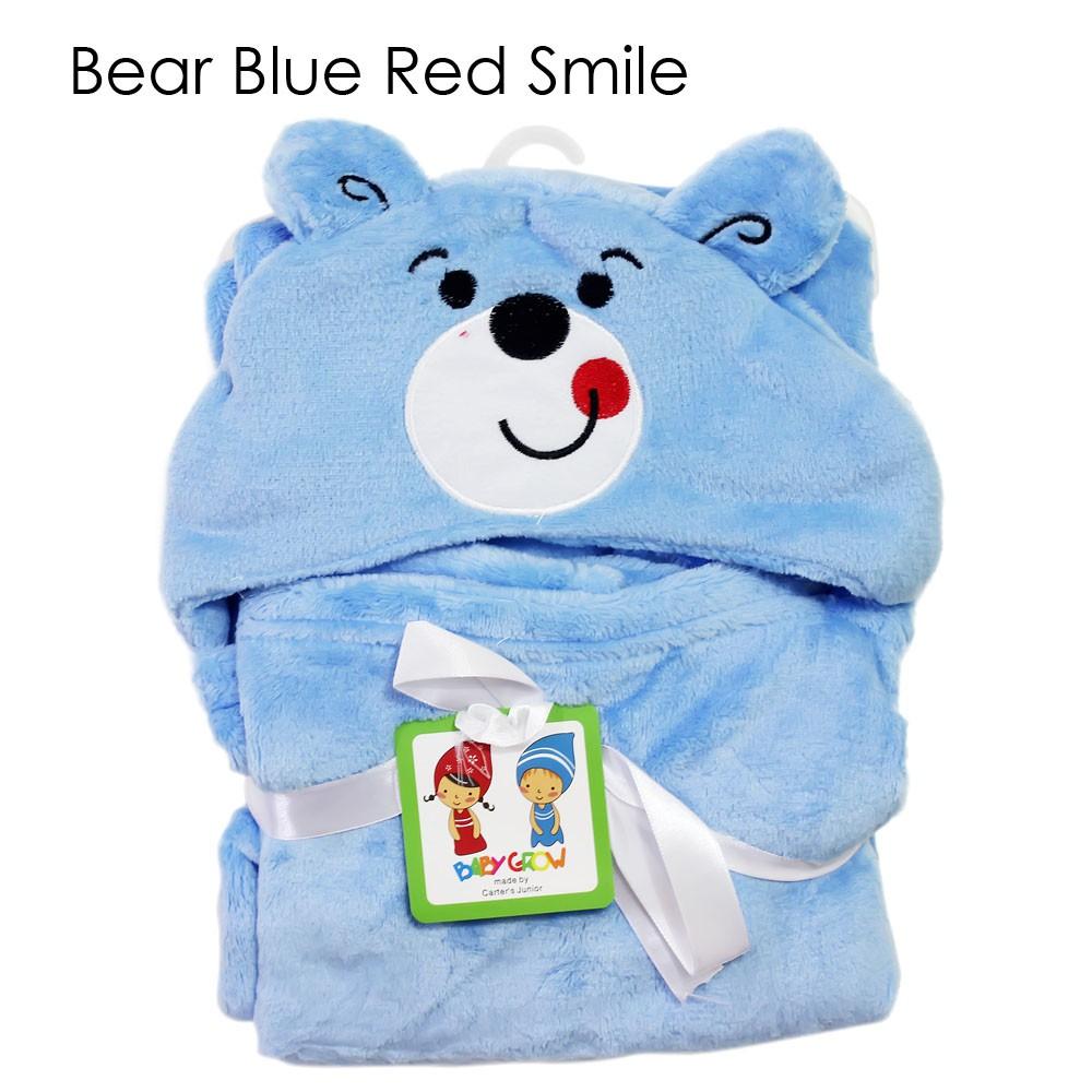 Selimut Topi Karakter Bear Double Fleece / Selimut Hoodie Bulu Bayi 3D / Hoodie Blanket |