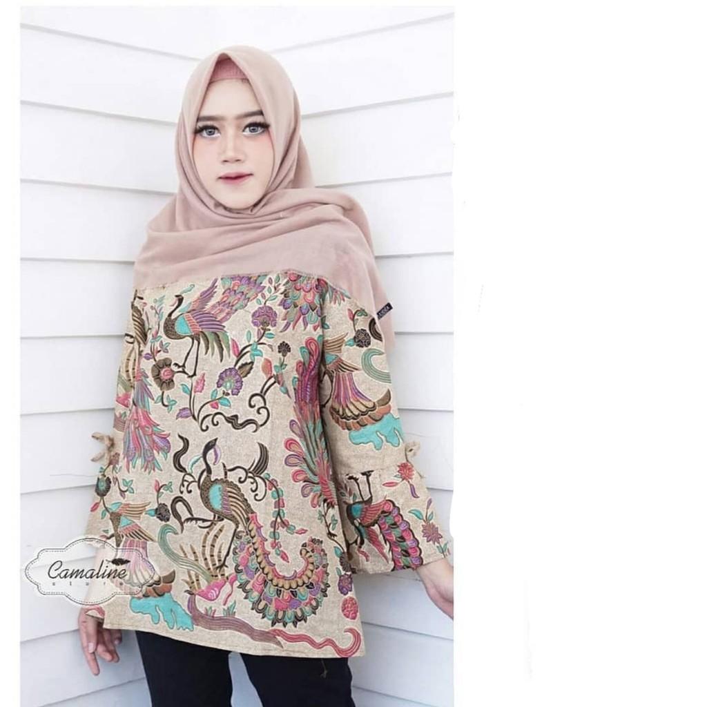 Kemeja Batik Wanita Jumbo: ATASAN BATIK WANITA MOTIF MURAI LENGAN LONCENG SERAGAM