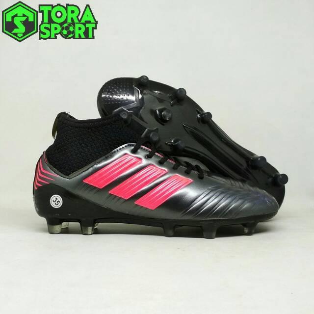 Sepatu Bola Anak Adidas Predator Boot Silver Hitam List Pink Size