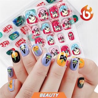 Beauty 24pcs Lot Kuku Palsu Full Cover Bahan Akrilik Untuk Nail Art Anak thumbnail