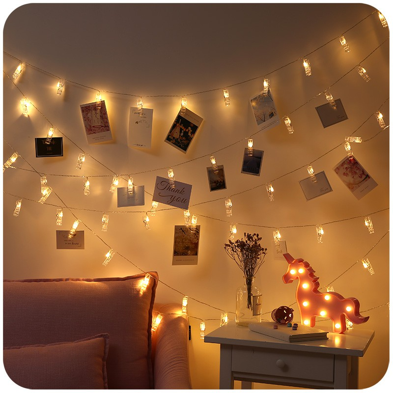 Color Light Photo Clip String Lights Girls Bedroom Layout Romantic Room Decoration Lamp String Shopee Indonesia
