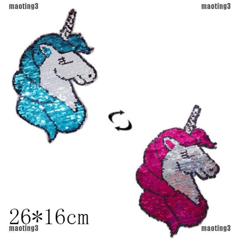 1x Extra Large Glitter Unicorn Sew//Iron On Embroidered Patch Applique DIY Motif