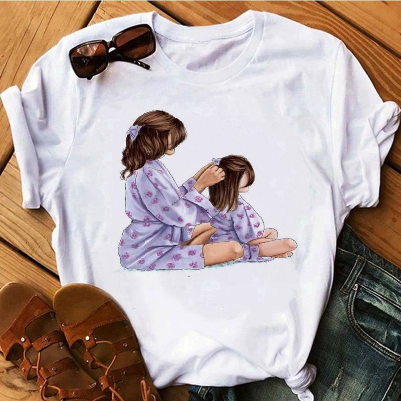 Kaos T Shirt Casual Ibu Dan Anak Perempuan Lucu Lengan Pendek Gambar Kartun Shopee Indonesia