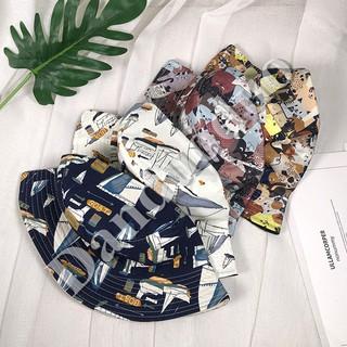 Topi Kupluk Model Bucket Motif Print Bahan Katun Gaya Korea untuk Pria    Wanita  368eaadca4