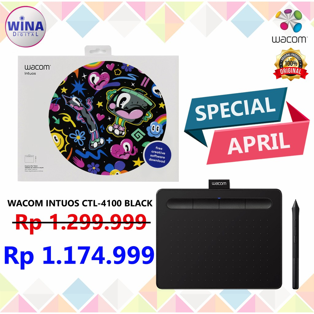 Pen Tablet Drawing Pad Wacom Intuos CTL-4100 Garansi resmi