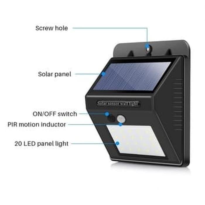 Pasarbb Lampu Taman Tenaga Surya System Sensor Dinding Solar Cell Panel 20 Led Murah Shopee Indonesia