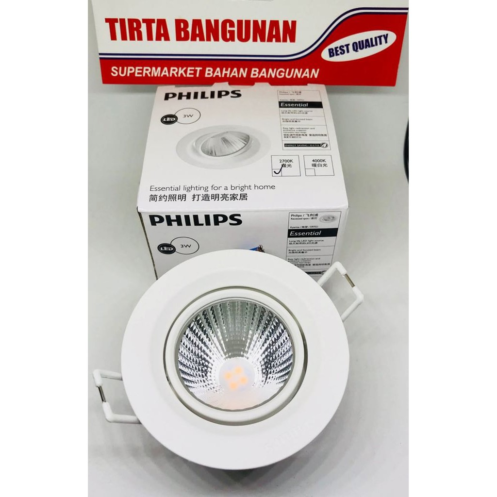 Philips Downlight Kyanite 070 5w 27k Wh Kuning Recessed Led Shopee Classic 7 70w G93 E27 Ww Indonesia