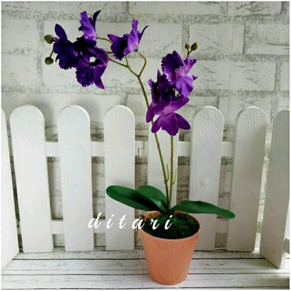 Promo Bunga Plastik Artifisial Artificial Palsu Anggrek Dekorasi Rumah  Shabby Chic Vintage Laris  ccd386f7ba