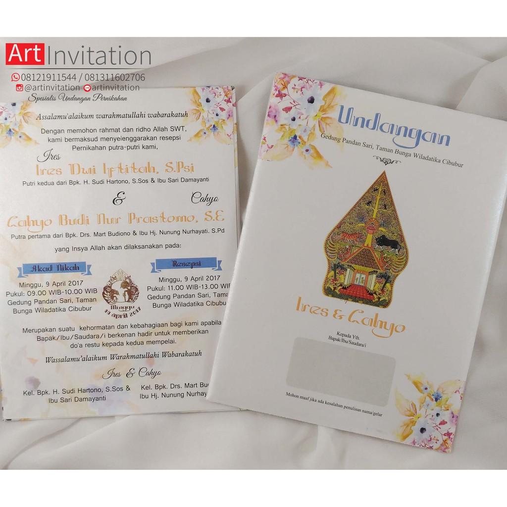 Undangan Pernikahan Hardcover Single Board Amplop Full Color