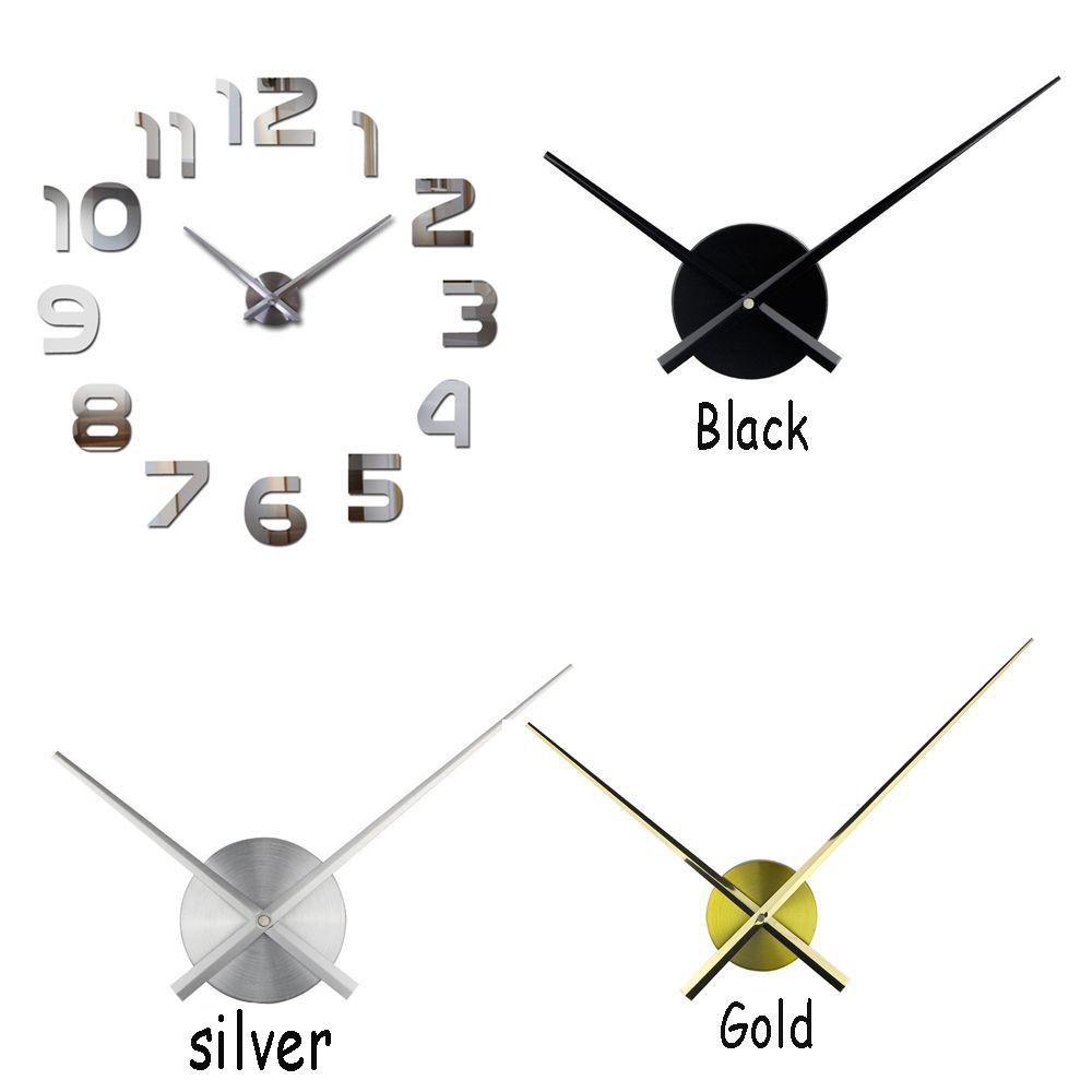 DIY Jarum Jam Dinding Quartz dengan Bahan Logam Warna Hitam dan Emas Ukuran  Besar  ca67f1d354