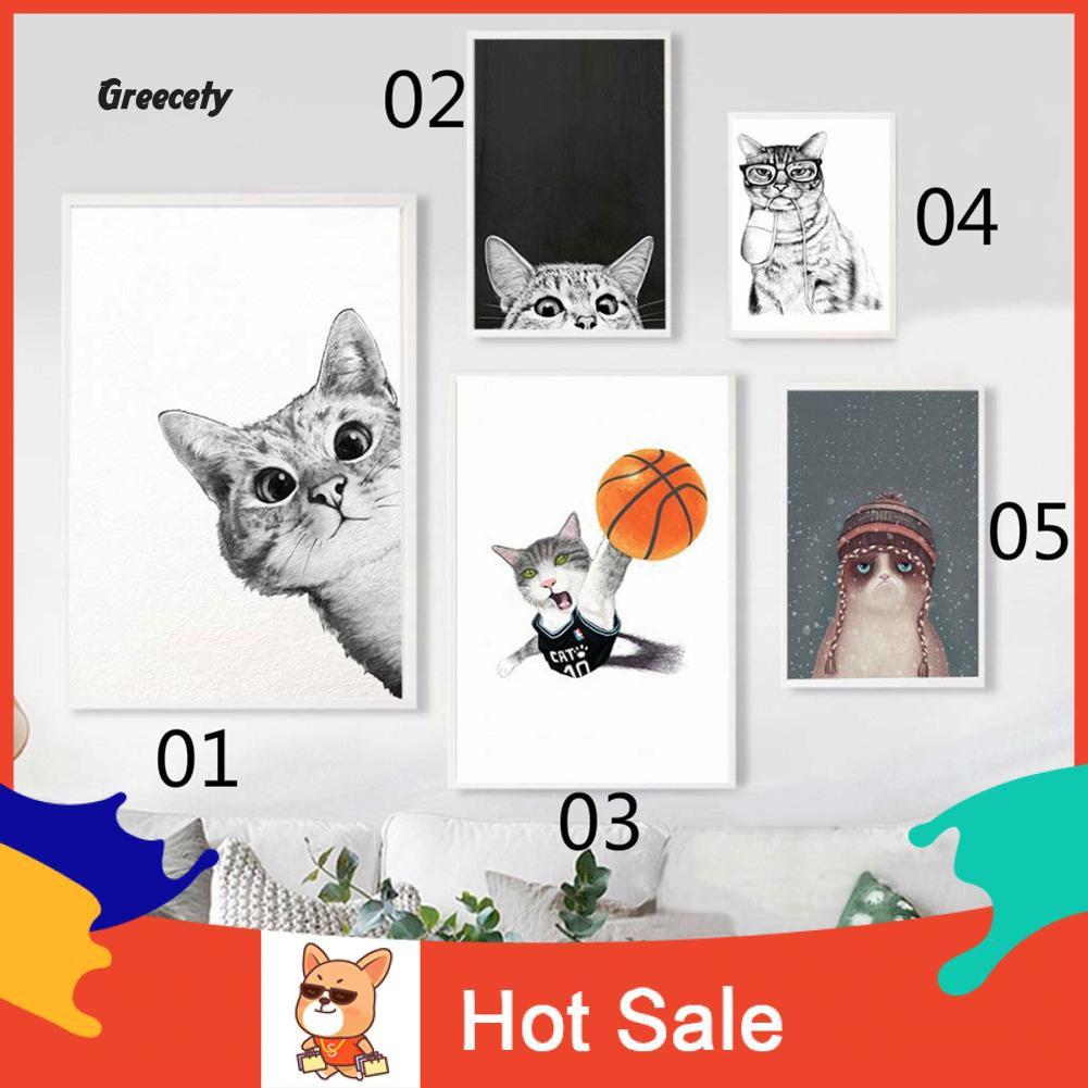 Lukisan Kanvas Gambar Kucing Kartun Lucu Untuk Dekorasi Kamar Anak