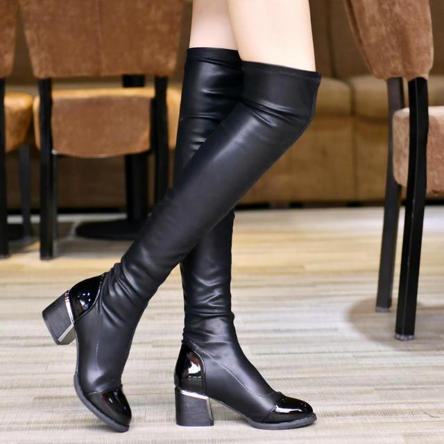 Sepatu Boots Wanita Panjang Selutut Bahan Kulit Untuk Musim Gugur