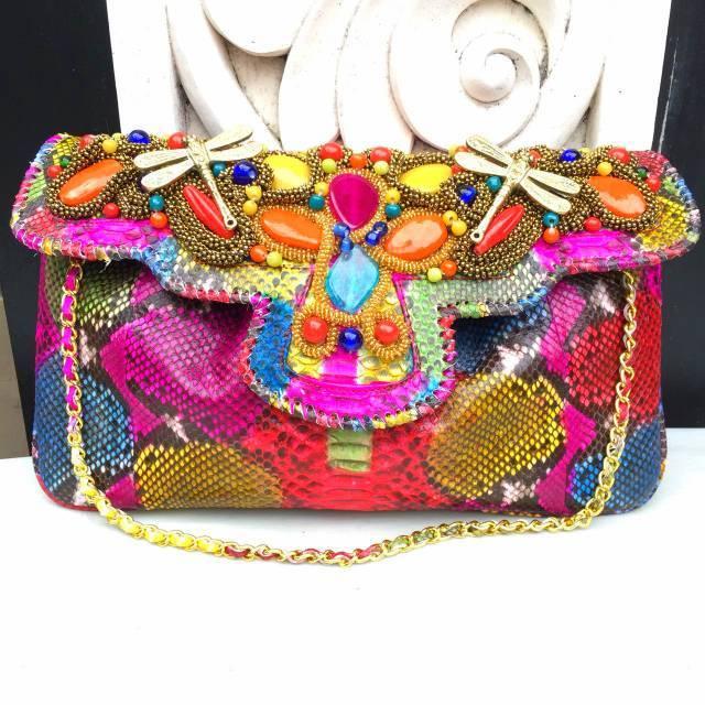 Agnes Size L Multi Color - Tas Clutch Ular Buat Pesta Dengan Model Cantik  f679895319