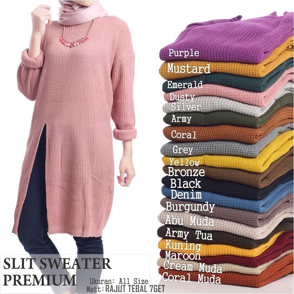 sweater wanita   atasan wanita   sweater wanita muslim   sweater rajut    Slit Sweater Premium 7Get  caff06da9f