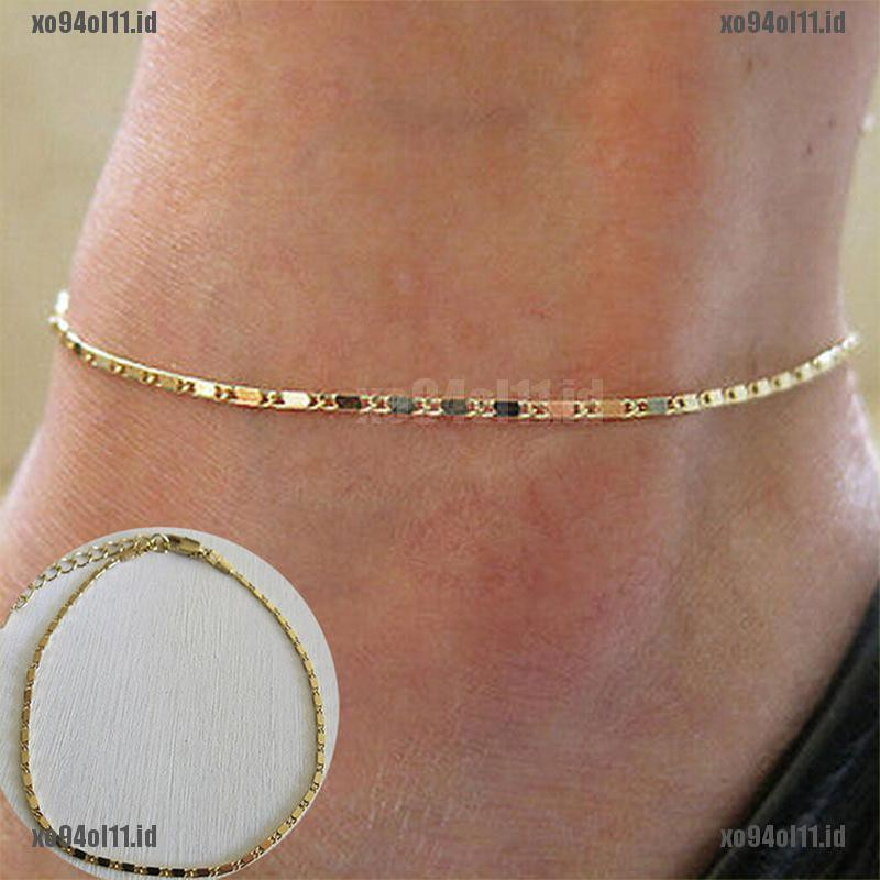 GOLD Bead Chain Anklet Ankle Bracelet Barefoot Sandal Beach Foot Jewelry Summer