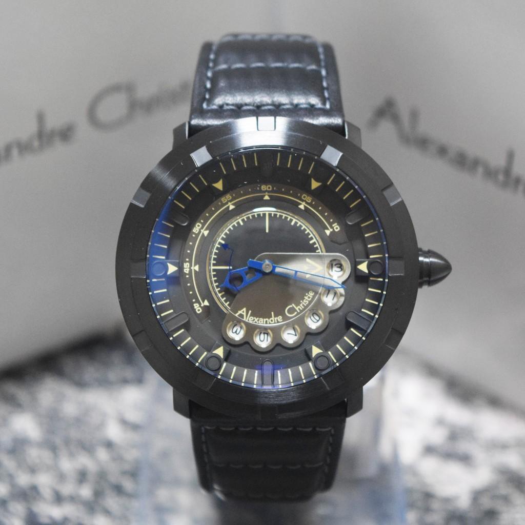 Jam Tangan Pria Alexandre Christie 3033 Hitam Jarum Biru Automatic 6324 Silver Original Shopee Indonesia