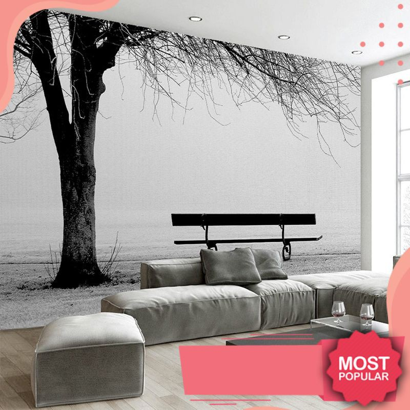 High Quality Kustom 3d Foto Wallpaper Mural Hitam Putih Pohon